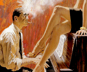 art, piano, and painting image