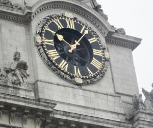 clock, gold, and london image