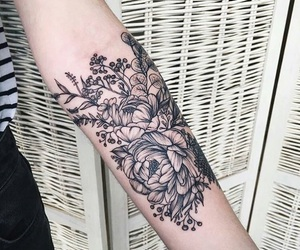 tattoo, floral, and flowers image