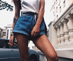 white top and jean short image