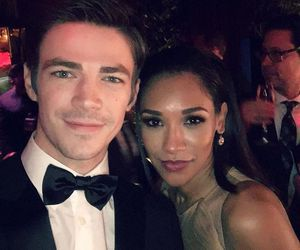 grant gustin, candice patton, and the flash image