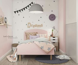 bed, bed room, and decoration image