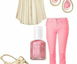 earings, jeans, and pink image