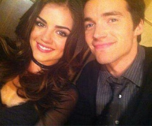 ezra, aria, and lucy hale image