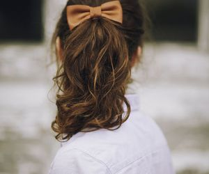 hair, bow, and brunette image