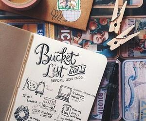 journal, doodle, and bucket list image