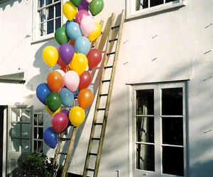 balloons, house, and vintage image