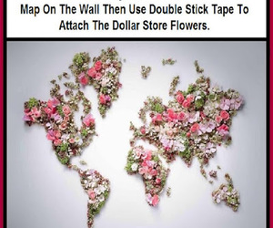 flowers, wall decor, and world map image