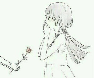 girl, anime, and rose image