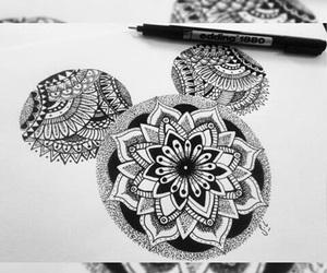 drawing, mandala, and disney image