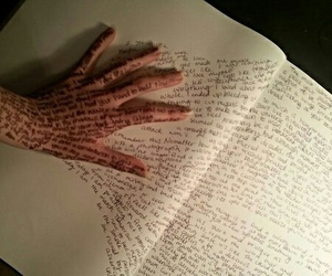 book, words, and hand image