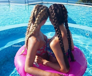 best friends, hair style, and pool image