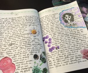 diary, flower, and notes image