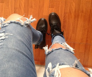 boots, ripped jeans, and winter image