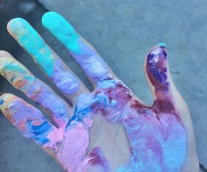 hand, art, and blue image