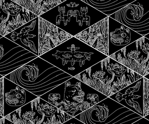 background, black and white, and pattern image