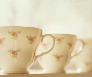 floral, pastel, and teacup image