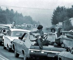 black and white, woodstock, and music image