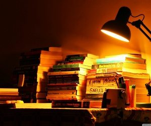 books and lamp image