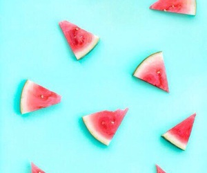 wallpaper, watermelon, and blue image