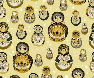 background, pattern, and russian doll image