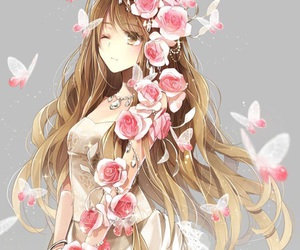 anime, flowers, and anime girl image