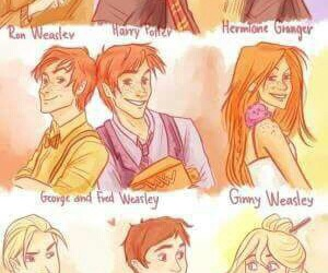 harry potter, luna lovegood, and ron weasley image