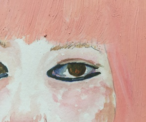 art, pink, and eyes image