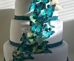 wedding cake, blue, and butterflies image