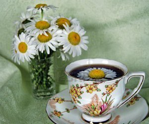 cup of tea, flowers, and tea cup image