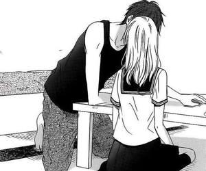 manga, black and white, and kiss image