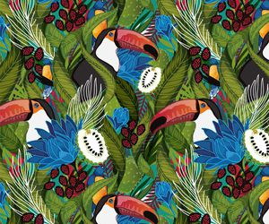 bird, flower, and pattern image