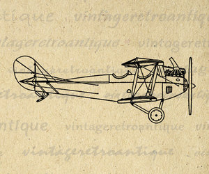 airplane, art, and biplane image