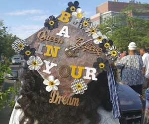 caps, decorations, and graduation image