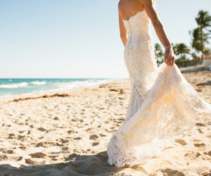 beach, wedding, and dress image