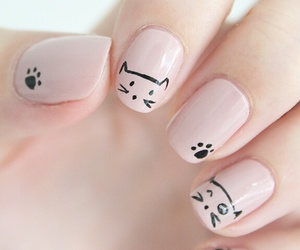 black, cats, and nail art image