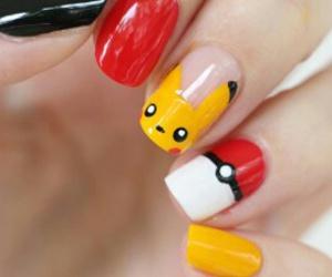 nail art, pokemon, and yellows image