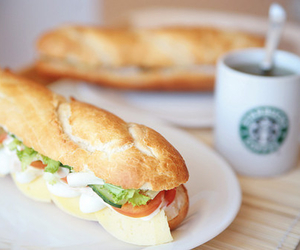 food, starbucks, and sandwich image