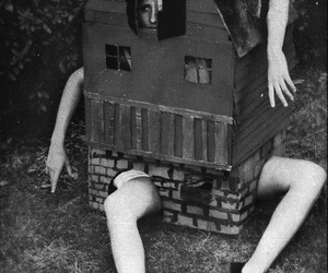 alice, black and white, and house image