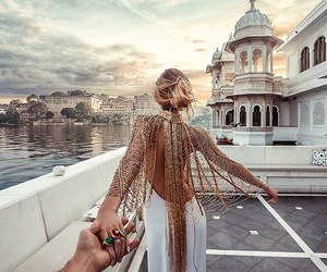 dress, travel, and couple image
