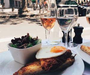 food, wine, and lunch image