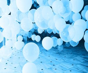 white, balloons, and blue image