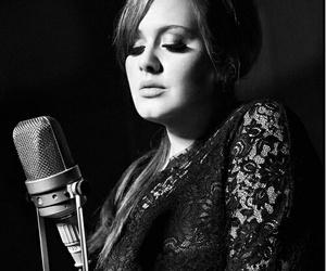 Adele, black and white, and beautiful image