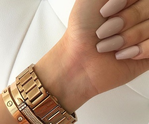 nails, gold, and watch image