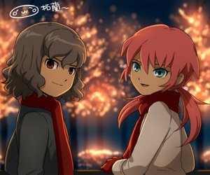 anime, blue eyes, and fireworks image