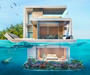 house, sea, and summer image