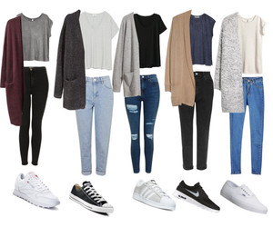 autum, cardigans, and jeans image