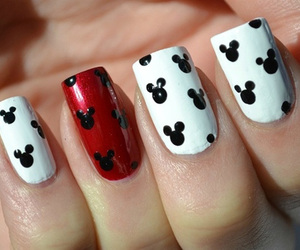 nails, mickey mouse, and red image