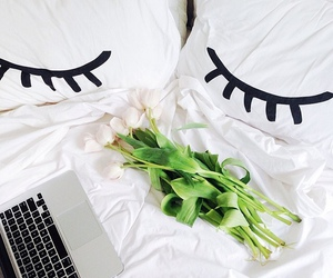 bed, white, and flowers image