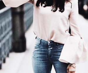 brunette, sweater, and light pink image